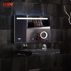 Specchio di pietra di superficie solido su ordinazione della stanza da bagno LED del blocco per grafici con Deforgger