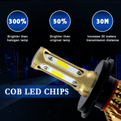 LED H7 H1 H4 H11 H8 H9 H13 9005 9006 9007 881 Car Kit de faros LED S500 Seires de cromo Oro 72W 8000LM bombillas de luz antiniebla faros automático 6500K