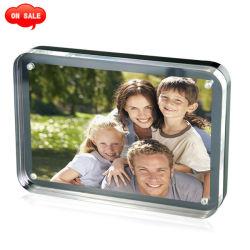 Coin rond comptoir poli aimant Photo en acrylique pour cadeau de promotion du Cadre photo