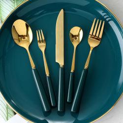 Het Bestek van het Keukengerei van het Roestvrij staal van de luxe met Ceramisch Handvat wordt geplaatst dat