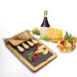 Foldableふたが付いている贅沢なタケ食糧サービングの大皿、木のチーズボード、黒いスレートおよび磁気ナイフの立場