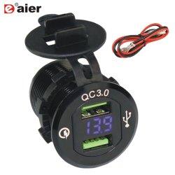 Schnelle Ladung 3.0 Doppel-USB-Kontaktbuchse-Aufladeeinheits-Energien-Anschluss-Aluminiumgehäuse mit LED-Voltmeter Ds9602