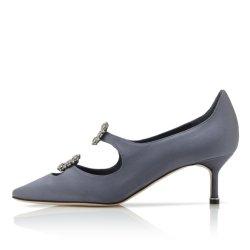 Sexy Satin Noir diamants décorations Stiletto Femmes de la pompe à haut talon mince Shoe