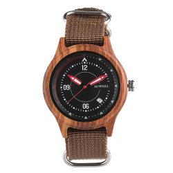 Bewell مخصص التصميم الأصلي OEM تصميم بسيط شريط قماش ساعة الرجال الخشبية