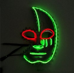 قناع LED هالوين حجاب هالوين قناع لون اثنين نصف القمر أنثى قناع