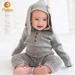 Заяц ухо вышивка дизайн осенью вязания хлопка детей Romper для малыша одежды