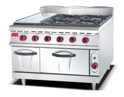Valorização profissional 4 bocas gama de gases e fogão a gás com chapa para cozinhar alimentos e churrasqueira