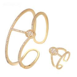Nuevo diseño de moda árabe brazaletes hechos a mano Juego de anillo de oro llena Bangle