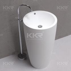 White Matt Autoportante Lavatório Pedra Pedestal pia do banheiro