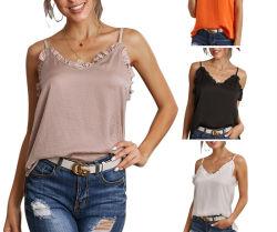 El desgaste de verano Moda Playa Sexy tejido de algodón Spegatti Mujeres Tank Top Top