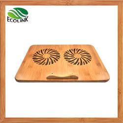 Ventiladores de refrigeração duplo para notebooks/ Almofada de Resfriamento de notebook de bambu