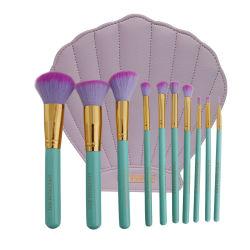 Espelho de Kit de Escova, Brino Pó Shell Corar Fundação Eyeshadow Dissimuladora Escova Cosméticos Salão ferramenta (10PCS)