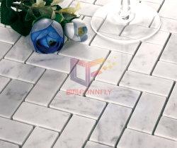 Spritzen verwendete Carrara-weiße Marmormosaik-Fliese für Wand-Dekoration (CFS1099)