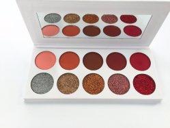 Высокая пигмента Eyeshadow палитра 10 цветов нажат Блестящие цветные лаки Shimmer & матовых теней косметический макияж (Блестящие цветные лаки +матовая) Esg13531