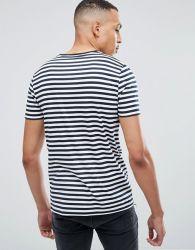 Mens 100 % coton imprimé personnalisé Promotion Tall Stripe T-Shirt blanc dans la Marine et le raccord en T