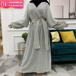 크기 숙녀 복장 플러스 Muslim Fashion Stripe Print 맥시 Abaya Hijab 인종 입는 신부 결혼식 긴 Muslimah