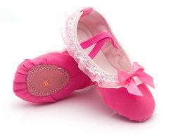 Les filles de couleur unie Soft BALLET Danse dentelle élastique jusqu'Toile Chaussures Crib