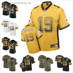 Kundenspezifischer passender J.J. Smith-Schuster Sleeved gelber Fußball Jersey Markenname-Pittsburgh-
