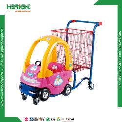 De plástico coloridas carro de brincar com o cesto metálico de carrinho de compras para crianças