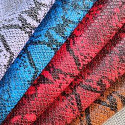 Der Schutzträger des nachgemachten Baumwollfussels, Schlange-Haut-Korn PU-Chemiefasergewebe-Leder