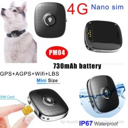 2020 nuevo 4G más pequeño Waterprof perro rastreador de GPS con 730mAh PM04
