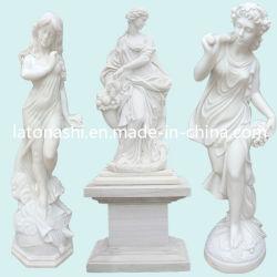 Стороны резные скульптуры в саду, белого мрамора камень рисунок статуи Карвинг