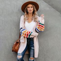 Оптовая торговля женщинами белым полосатым круглая насадка для взбивания стакан Крепкие длинные свитера Вязаная кофта