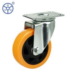 WBd 고품질 3인치 주황색 PVC 캐스터 휠 스위블 상단 플레이트 브레이크