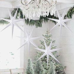 1PC 60cm Hangend 7 Decoratie van Kerstmis van de Ster van het Document van de Hoek huw Ster van de Lantaarn van Kerstmis de Holle voor het Decor van het Huis van de Open haard van het Venster van de Boom