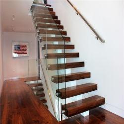 탄소강 스트링거 일자형 계단 스틸 스트링거 계단(유리 포함 난간 및 나무 또는 유리 계단
