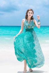 O Fashion Verão 2020 Chiffon sem mangas Beach Holiday mulheres vestido de vestes