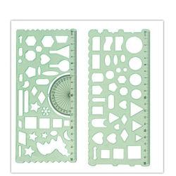 De de transparante Geometrische Heerser van de School van de Kleur Groene Plastic/Stencil van de Heerser