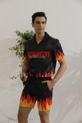 Logo personalizzato all'ingrosso Designer stampato casual pulsante su Floral corto Manica Beach Aloha Hawaiian Shirts