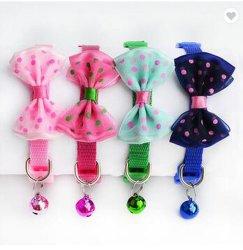 Piccolo cane del collare registrabile dell'animale domestico & collana di nylon dei guinzagli del gatto con il disegno di Bowknot & della Bell