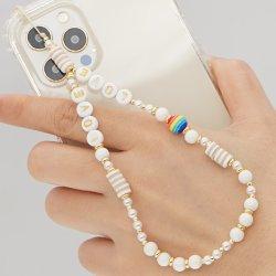 Chaîne Mlgm pour téléphone charme Beads chaînes téléphone portable cordon Accessoires signe de paix bijoux perles de bois sangles 2021 Mobile Lanyard Vente en gros