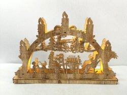 Corte a Laser LED velas de Natal a decoração da ponte de madeira do ornamento de Natal