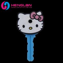 Esmaltado en 3D de promoción de PVC suave goma tapa de la llave de Hello Kitty