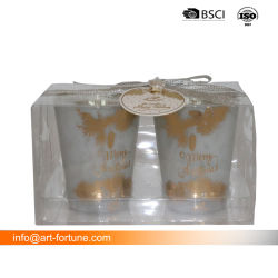 De Gift van de Houder van de Kaars van Tealight van het Glas van de luxe in de Doos die van het Huisdier wordt geplaatst