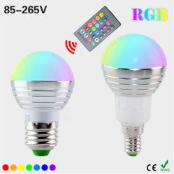 AC110V 5W 220V LED RGB Spot Light vacances magiques à gradation de l'éclairage RGB+télécommande IR 16 couleurs E27 E14 Lampe Ampoule LED RGB
