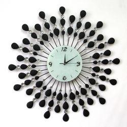 孔雀の金属のクロック装飾的な柱時計のメタクロック