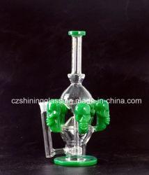 Heiße Verkaufs-chinesische Farben-Schädel-Form-Glaspfeife-Ölplattform-Huka