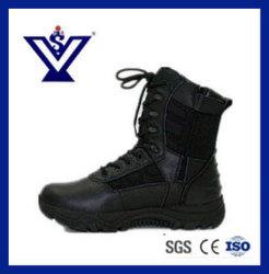 De Cuero auténtico desierto táctico negro botas botas militares (SYSG-251)