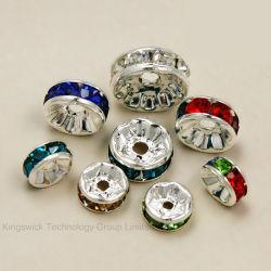 قطع معدنية ذات طلاء فضي ورستال كريستي من حجر الراين ذات قطع معدنية مقاس 8 مم