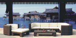 Diseño clásico de lujo de exterior huerto muebles de rattan sintético sofá