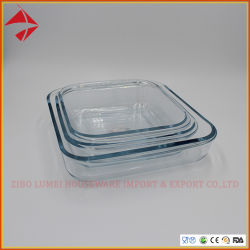 ガラスホウケイ酸塩のベーキングはガラス台所Bakewareの耐熱性ガラスベーキング皿を皿に盛る
