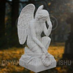 Sculpture de marbre blanc Stone Angel Monument de cimetière décoration