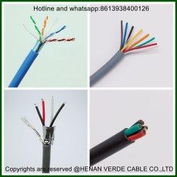 Cable aislado de cobre estañado espiral de PVC de control eléctrico de caucho de silicona Cat5e de la comunicación de red CAT6 cable eléctrico