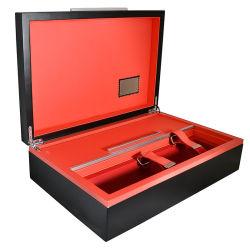 Conjunto de vinho luxo madeira Caixa de armazenamento com o abridor de vinho eléctrico / Pourer Rolha / / Anéis e bandeja de Vinho
