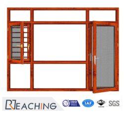 Fenêtre à battant en aluminium normal --- Fenêtre de la qualité du matériau remarquable avec grillage de métal