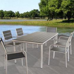 Textileneの陽極酸化されたアルミニウム柳細工のプラスチック木製の屋外の家具が付いている最もよいホームまたはホテルまたはレストランの庭の家具の絶妙な中型のダイニングテーブルセット